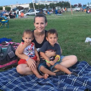 mom and two kids at the park