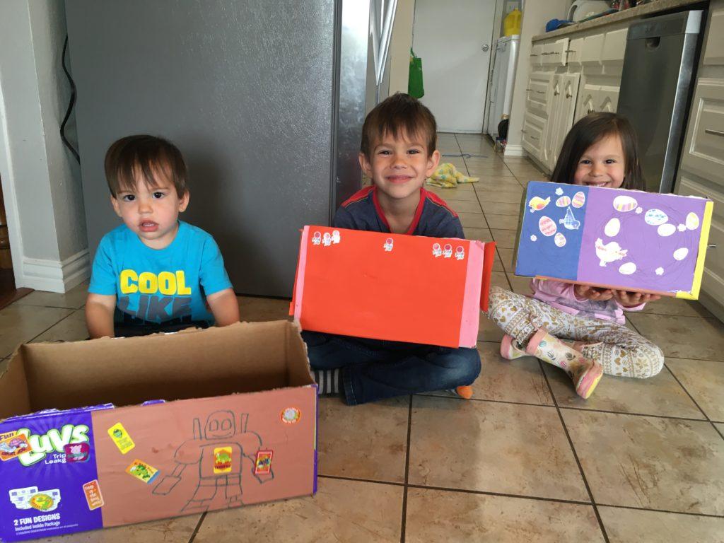 indoor activity idea - decorating cardboard boxes