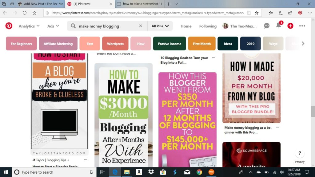 Pinterest pins about how to make money blogging