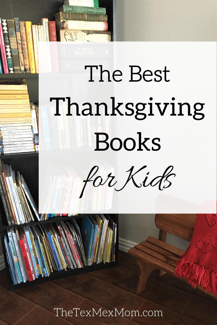 "Picture of bookshelf with caption ""The Best Thanksgiving Books for Kids"""