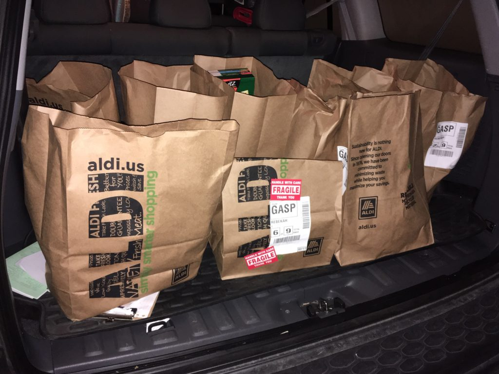 grocery pickup from ALDI, in paper bags