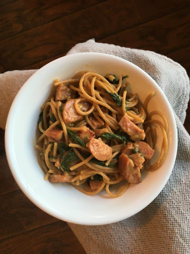 Sausage and Spaghetti Pasta in a white bowl