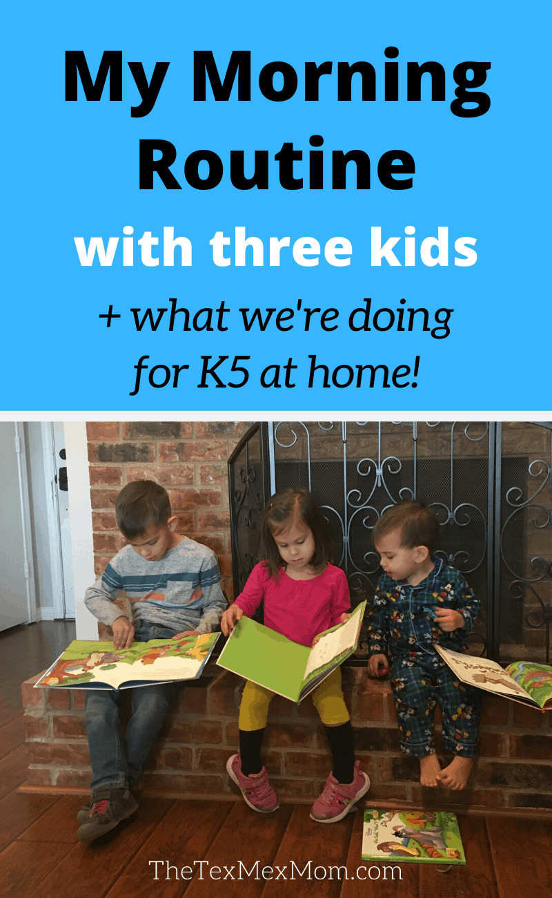 My morning routine with three kids - [image of three children looking at books]