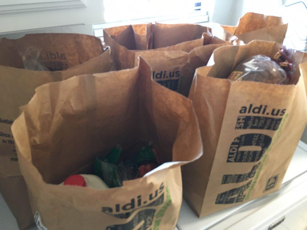 ALDI curbside groceries in paper bags