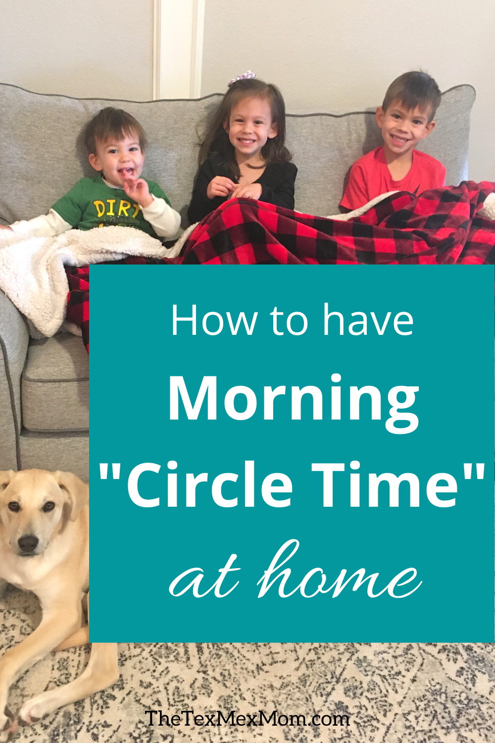 3 kids on the couch, ready for morning circle time at home