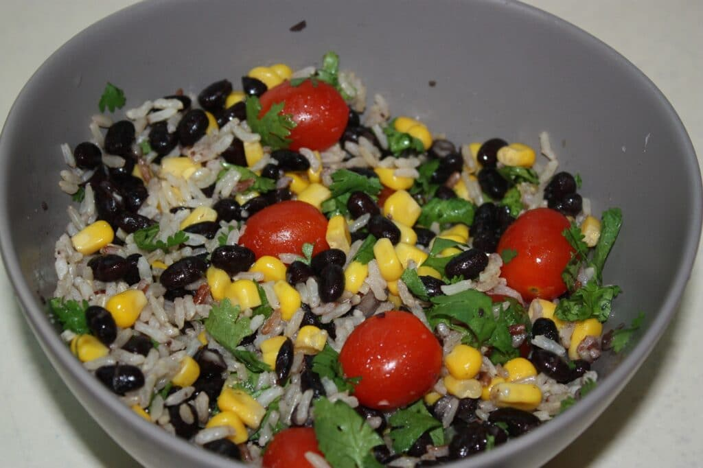 a bowl of beans and rice - an inexpensive meatless meal idea