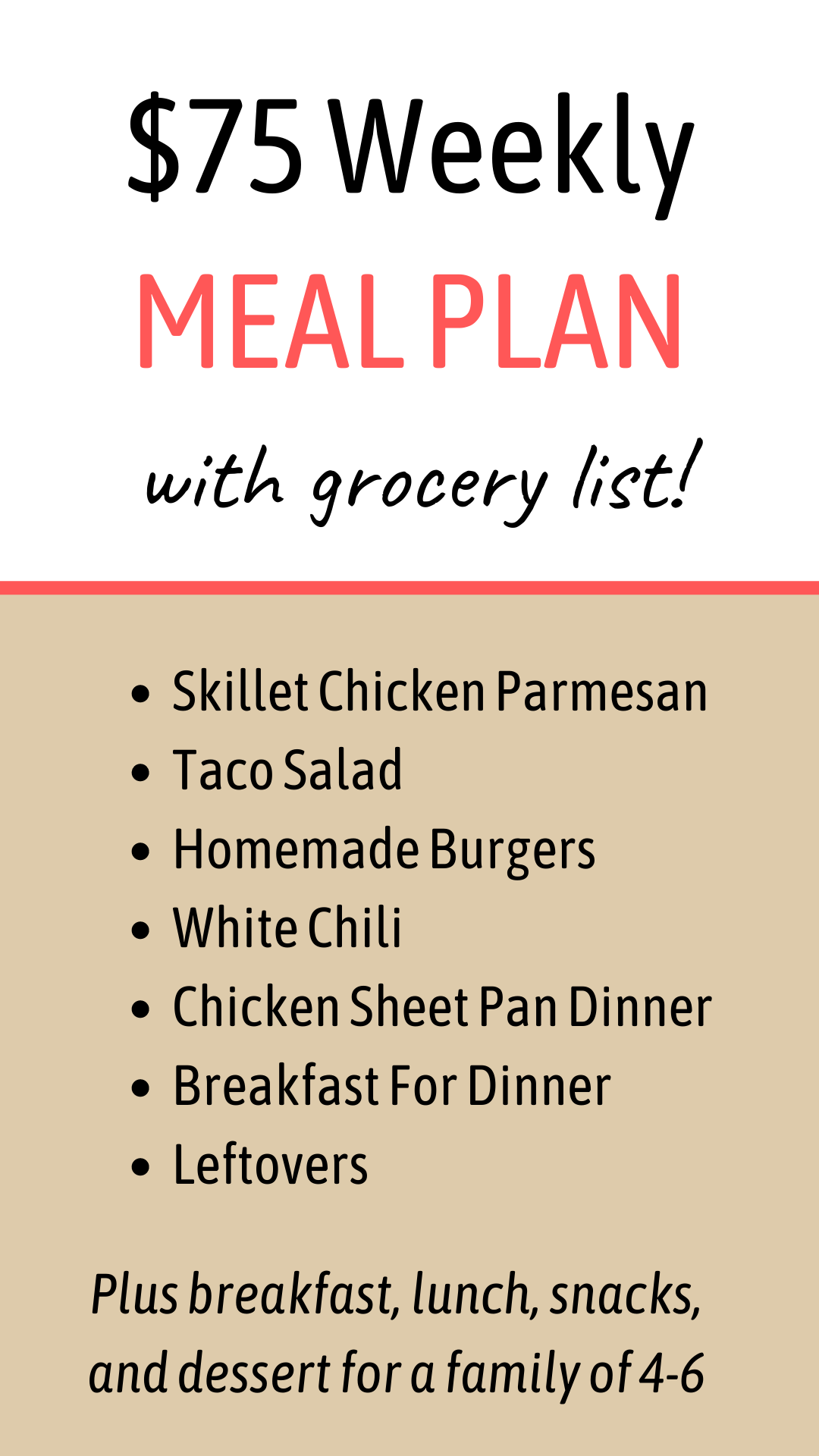 $75 Weekly Meal Plan With Grocery List